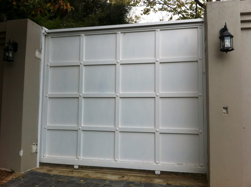 Solid white sliding gate